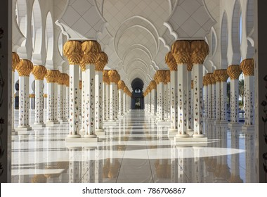 Sunlight among the columns of the Sheikh Zayed Mosque. United Arab Emirates.