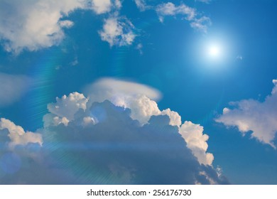 Sunlight in Blue sky with clouds