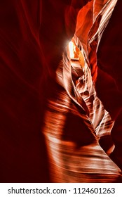 Sunlight coming into Antelope Canyon on the Navajo Indian reservation in Northern Arizona