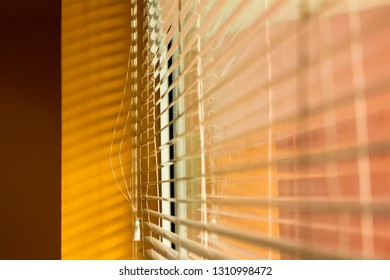 Sunlight coming through silver window blinds
