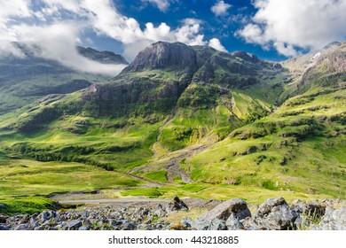 Sunlight Falling onto Highlands of Scotland in Glencoe