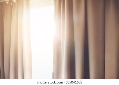 Sunlight falling through a curtain