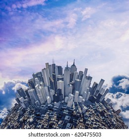 Sunlight mountain city / 3D illustration of modern business city bathed in sunlight under glorious sky