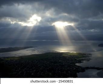 Sunlight on Aukland Aerial, New Zealand