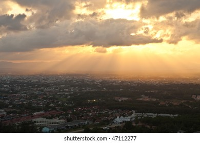 Sunlight over city of Thailand