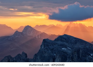 Sunlight over mountain with sun rays