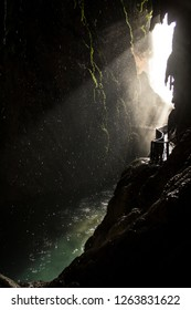 Sunlight passing through a cave.