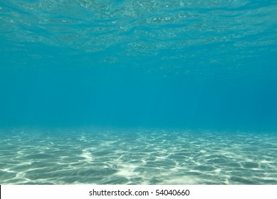Sunlight reflecting on a the bottom of a shallow underwater bay.