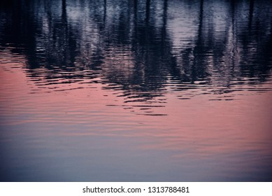Sunlight reflection on the water of a pond in the afternoon blurry photo