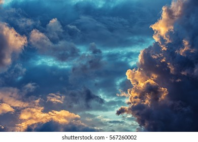 Sunlight sets fire to the edges of this dramatic cloudscape