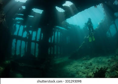 Sunlight shines down into the interior of a world war II shipwreck off the coast of Guadalcanal in the Solomon Islands. Shipwrecks act as artificial reefs, attracting many fish and invertebrates.