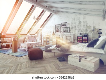 Sunlight shining into modern hipster style loft bedroom covered in hardwood floors with pictures, seat cushions and other decorations with slanted windows above. 3d Rendering.