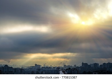 Sunlight skylight from the clouds of divine light city