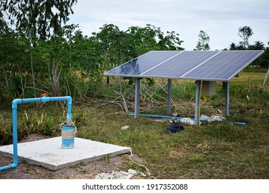 Sunlight solar cell kit energy used to pump water used in the farm