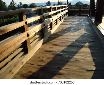 Sunlight streaming into the wooden balcony; Temple, Nara in Japan