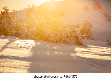 Sunlight at sunset in the mountains. Winter season. Web banner.