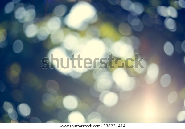 sunlight through leaves on tree, image blur bokeh background, image used vintage tone filter