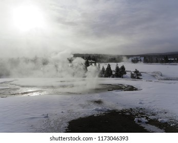 Sunlight through steam - Yellowstone National Park, USA - in the winter
