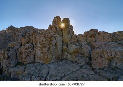 """Sunlight through the stone markers in """"Kokino"""" ancient observatory in Macedonia. This observatory was ranked by """"NASA"""" on the 4-th place on the World's Ancient Observatories list."""