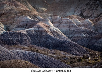 Sunlit badlands at Blue Mesa in Painted Desert National Park near Holbrook Arizona USA