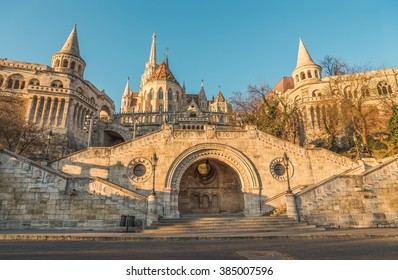 Sunlit Fisherman's Bastion in Budapest, Hungary at Sunrise. View from below.