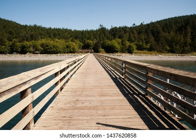 Sunlit pier in Washington state