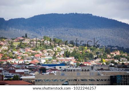 Sunlit Residential District Hobart Capital Tasmania Stock