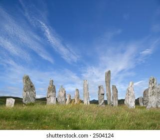Sunlit Standing Stones at Callanish, Lewis, Western Isles, Scotland
