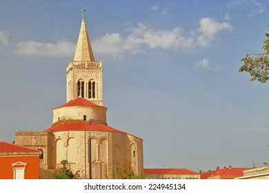 Sunlit tower of a church with Venetian architecture, Zadar, Croatia