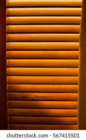 Sunlit wooden window frame