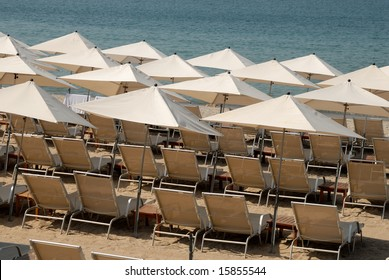 Sunlounger on the beach in Cannes, southern France