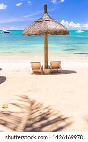 Sunloungers at Trou-aux-Biches Public Beach, Northeast Mauritius
