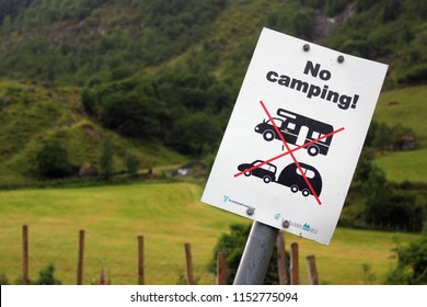 Sunndal, Norway - June 18, 2018: No camping sign in Sundal village, a popular tourist destination and a starting point of hiking to Folgefonna national park glaciers.