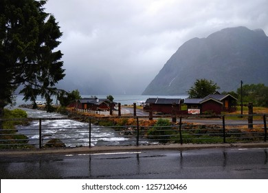 Sunndal, Norway - June 19, 2018: A rainy day in Sundal camping, a popular tourist destination and a starting point of hiking to Folgefonna national park glaciers.