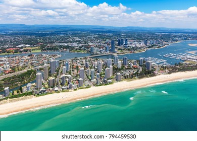 Sunny aerial view of Main Beach and Southport looking inland on the Gold Coast, Queensland, Australia