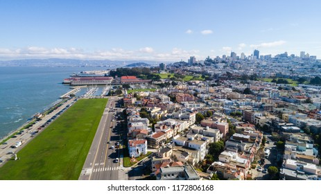 Sunny Aerial View of Marina District in San Francisco