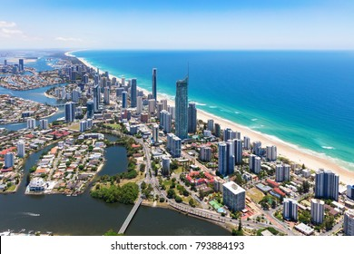 Sunny aerial view of Surfers Paradise on the Gold Coast, Queensland, Australia