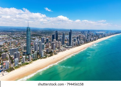 Sunny aerial view of Surfers Paradise looking inland on the Gold Coast, Queensland, Australia