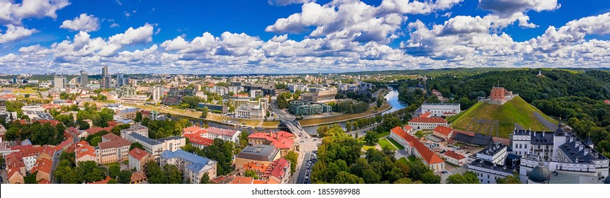 Sunny Aerial Vilnius Old Town aerial view scene. Red rooftops of Vilnius from the birds eye view - Vilnius - the capital of Lithuania