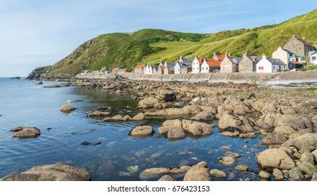 Sunny afternoon in Crovie, small village in Aberdeenshire, Scotland.