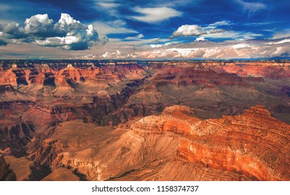 A sunny afternoon on the south rim of Grand Canyon National Park in Arizona, USA.
