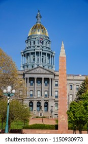 Sunny afternoon view of the historical Colorado State Capitol, United States