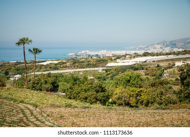 Sunny Andalusian coastline in Nerja, Malaga, Spain