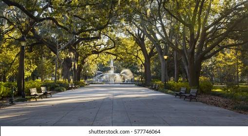 A sunny autumn day at Forsyth Park in Savannah, Georgia.