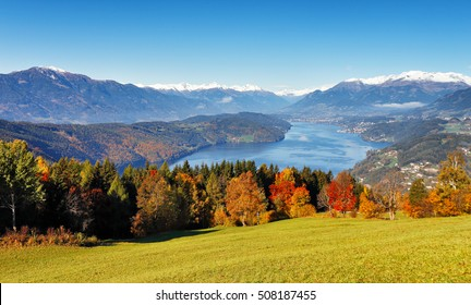 Sunny autumn day on the lake in mountains of south Austria, Carinthia