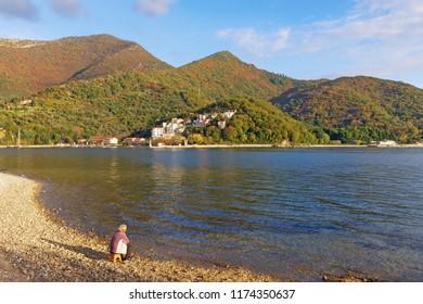 Sunny autumn day. Picturesque Mediterranean landscape. Montenegro,  Bay of Kotor, Adriatic Sea