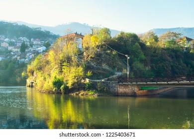 Sunny autumn morning on Miljacka river in Sarajevo, Bosnia and Herzegovina