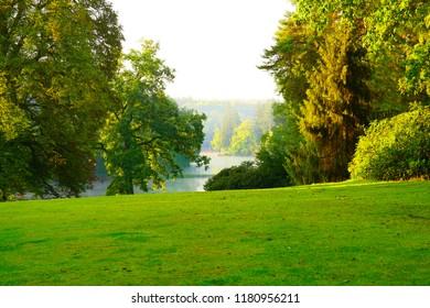 Sunny autumn morning in Stirin Park near Prague, Czech Republic