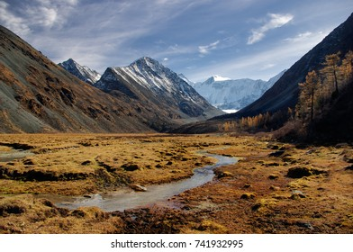 Sunny autumn mountain valley with a river stream and shores with yellow dry grass on the background of snow peaks and ice glacier cloudy sky Akkem Belukha Altai mountains Siberia Russia