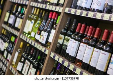 SUNNY BEACH, Bulgaria - June 21, 2013: Wine bottles in wine shop.